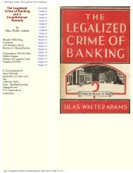Silas Walter Adams, The Legalized Crime of Banking
