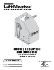 MODELS LGO50113R and LGO50113L - LiftMaster