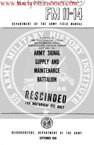 Army Signal Supply and Maintenance Battalion - Survival Books