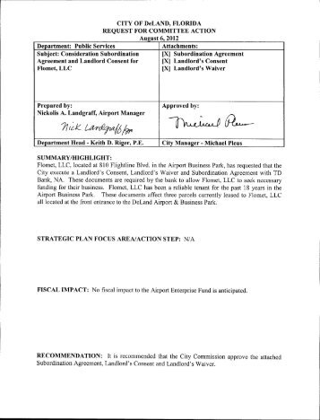 Consideration Re Subordination Agreement And ...   City Of DeLand