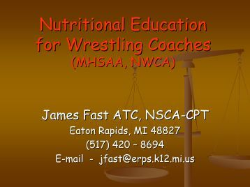 Nutrition for Optimal Performance for wrestling - Michigan High ...