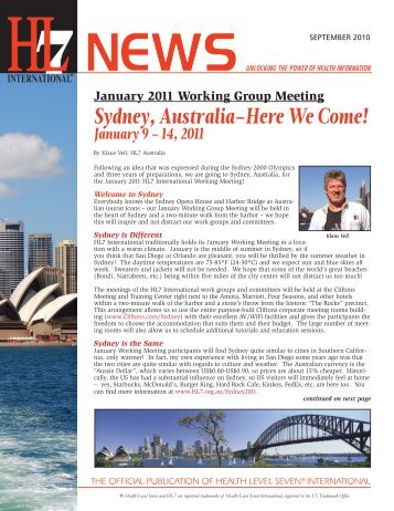 Sydney, Australia–Here We Come! - HL7