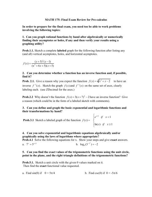 Math 175 Final Exam Review - The Learning Lab at HFCC