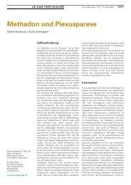 Methadon und Plexusparese - Swiss Medical Forum
