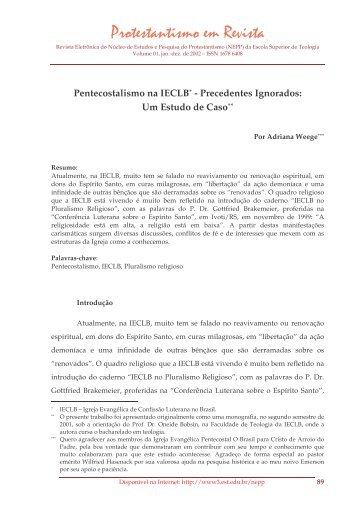 Pentecostalismo na IECLB - Precedentes ... - Faculdades EST