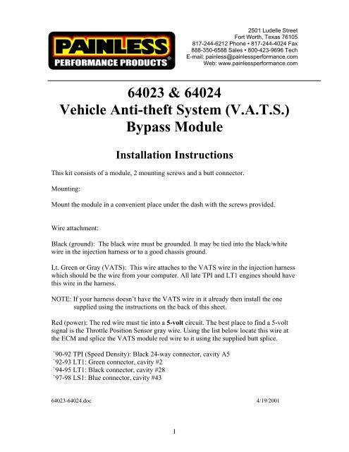 Painless Wiring Anti-Theft Alarm Control Unit 64024;