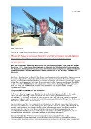 EBL prüft Solarstrom aus Spanien und Windenergie ... - Steiner, Urs