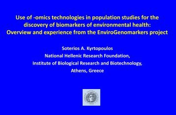 Use of -omics technologies in population studies for the discovery of ...