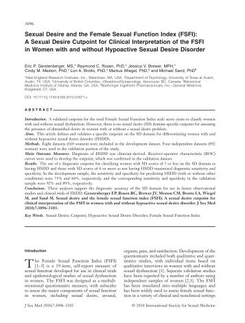 Sexual Desire and the Female Sexual Function Index (FSFI): A ...