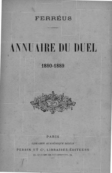 ANNUAIRE DU DUEL - Decalog
