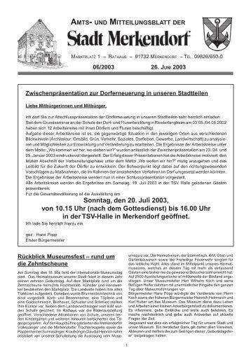 Sonntag, den 20. Juli 2003, von 10.15 Uhr - Stadt Merkendorf