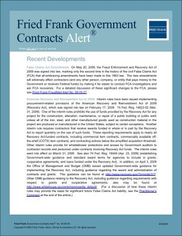 Fried Frank Government Contracts Alert - Spring 2009