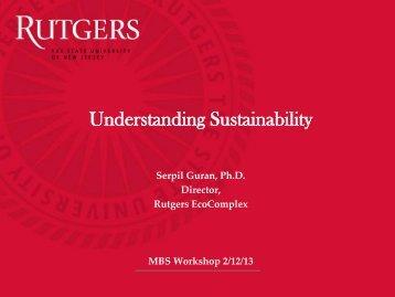 Understanding Sustainability - Rutgers EcoComplex