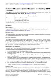 Bachelor of Education (Further Education and Training) (BEFT ...
