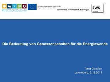 Die Bedeutung von Genossenschaften für die ... - Klimabuendnis.lu