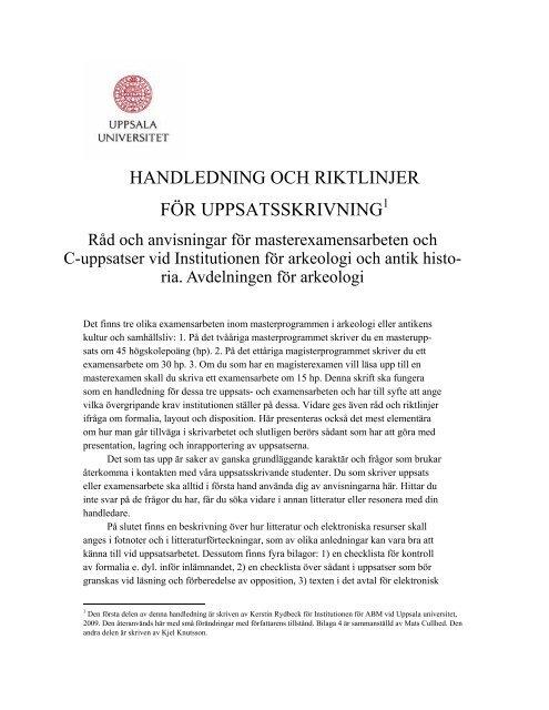 handledning och riktlinjer för uppsatsskrivning - Uppsala universitet