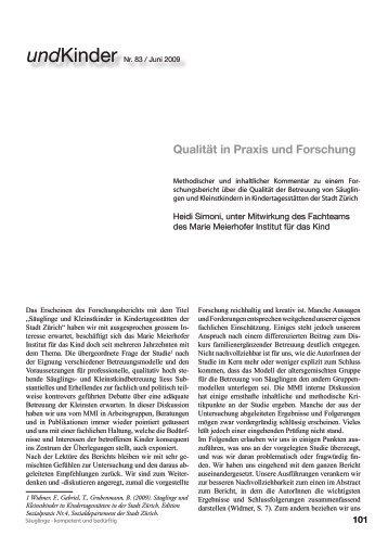 Qualität in Praxis und Forschung - Marie Meierhofer Institut für das ...