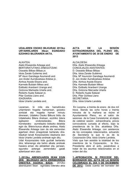 UDALAREN OSOKO BILKURAK 2013ko URTARRILAREN 30ean ...
