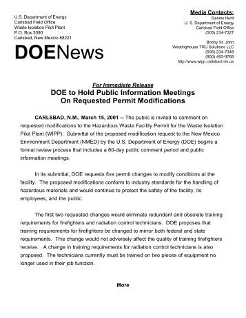 DOE to Hold Public Information Meetings on Requested Permit ...