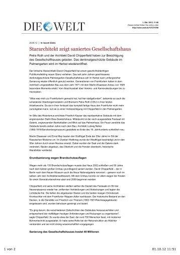 In neuem Glanz: Stararchitekt zeigt saniertes Gesellschaftshaus ...