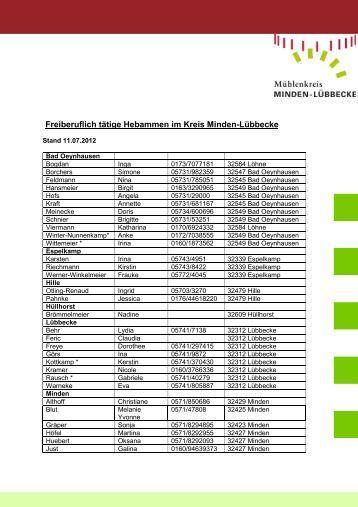 Hebammenliste 110712 - Kreis Minden Lübbecke