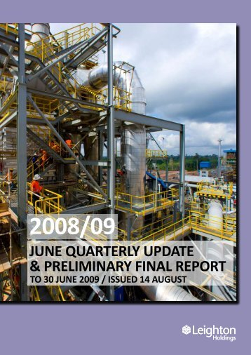 june quarterly update & preliminary final report - Leighton Holdings