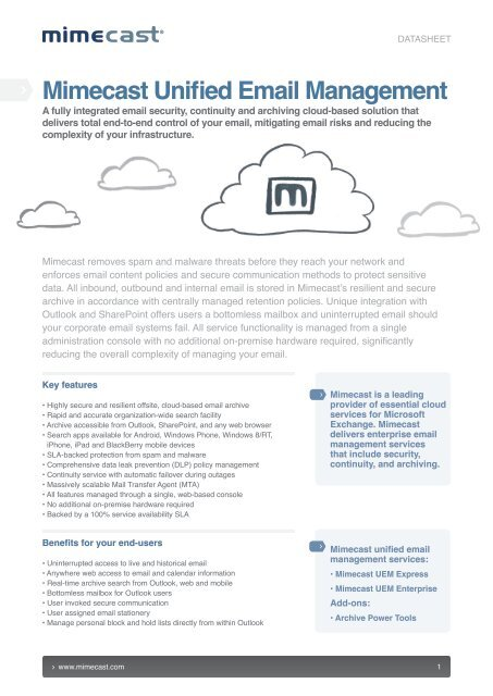 Mimecast Unified Email Management How it works