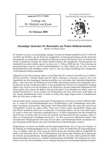 Ehemaliger deutscher EU-Botschafter am Walter ... - WHI-Berlin