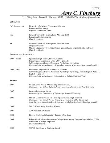 Curriculum Vitae - Hoover City Schools