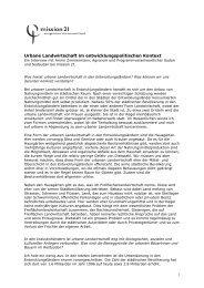 Interview Urban Agriculture mit Armin Zimmermann - Mission 21