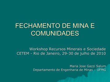FECHAMENTO DE MINA E COMUNIDADES - Cetem