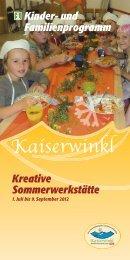 Kinder- und Familienprogramm Kreative Sommerwerkstätte