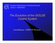 The Evolution of the ISOLDE Control System - ITCO - CERN