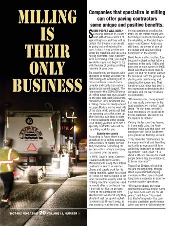 Milling Is Their Only Business - Hot-Mix Magazine