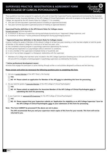 supervised practice - APS Member Groups - Australian ...