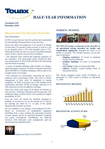 Half year financial statement at December 31, 2010 - touax group