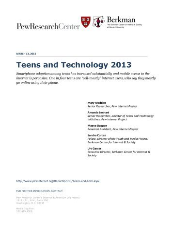 Teens and Technology 2013 - Pew Internet & American Life Project