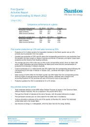 First Quarter Activities Report For period ending 31 March ... - Santos