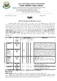 Advertisement for Recruitment of Govt. Polytechnic ... - DTE Raipur