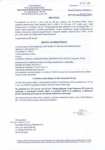 Prawo ochronne MSP - Gardinia