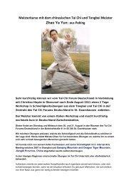 Meisterkurse mit dem chinesischen Tai Chi und Tongbei Meister ...