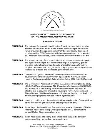 a resolution to support funding for native american housing programs