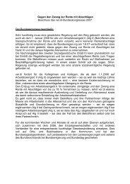 Beschluss des ver.di-Bundeskongresses 2007 gegen den Zwang ...