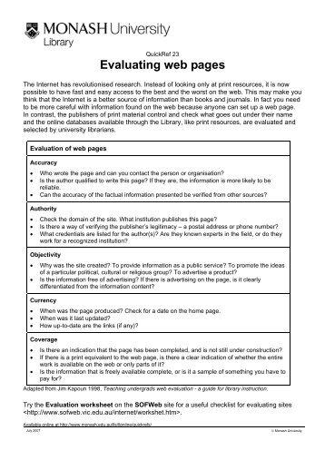 Evaluating web pages - Monash University