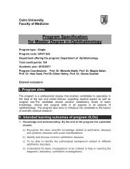 Program Specification for Master Degree in:Ophthalmology