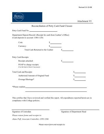 Document Title Establish Or Increase Petty Cash Fund
