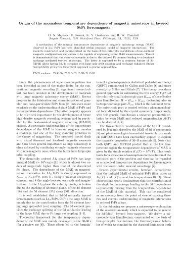 Origin of the anomalous temperature dependence of magnetic ...