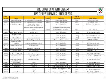 abu dhabi university library list of new arrivals - august 2013