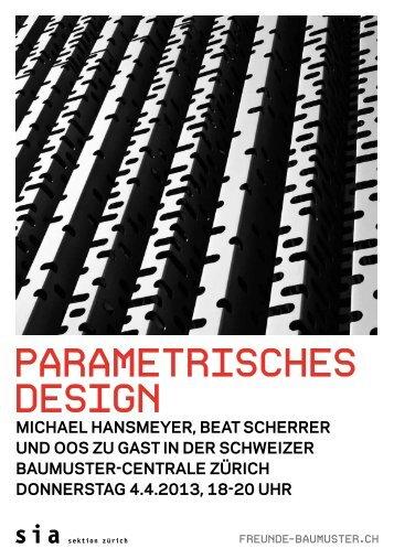 Parametrisches Design Flyer - Schweizer Baumuster-Centrale Zürich