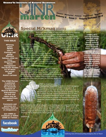 Vol.6.Issue 3 – Autumn 2010 - Unama'ki Institute of Natural Resources